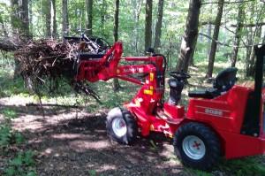 Lesní práce s kolovým kloubovým nakladačem v lese u Ostravy